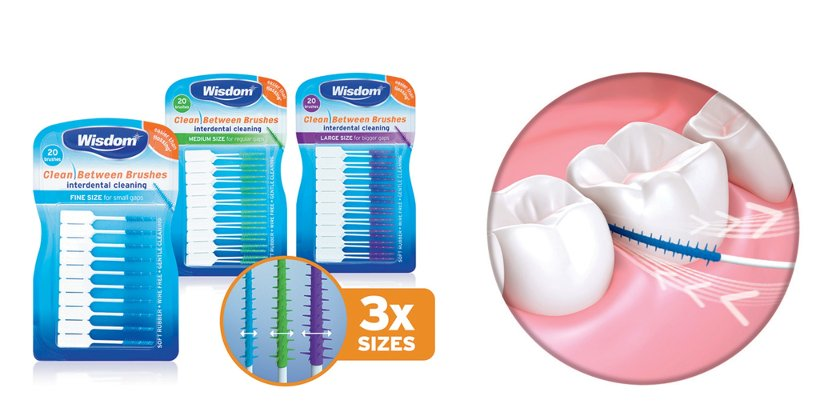 The Wisdom Clean Between Rubber Interdental Brushes are clinically proven to reduce gingivitis